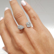 Load image into Gallery viewer, The Edith Designer Ring- 1.2 CARAT PEAR & EMERALD CUT D VS2 DIAMOND - 14K WHITE GOLD #J99207