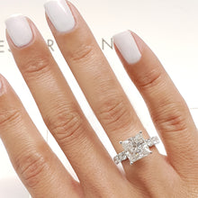 Load image into Gallery viewer, The Blair Engagement Ring - 3.5 CARAT F COLOR VS2 CLARITY PRINCESS 14K WHITE GOLD RING #J99214