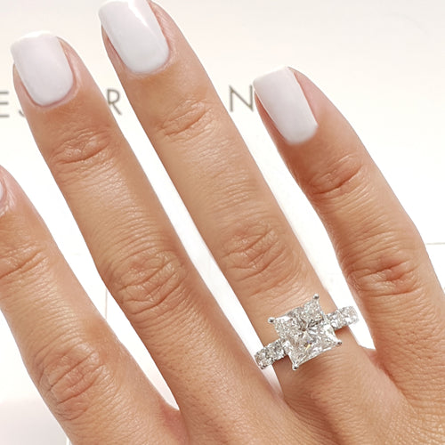 The Blair Engagement Ring - 3.5 CARAT F COLOR VS2 CLARITY PRINCESS 14K WHITE GOLD RING #J99214