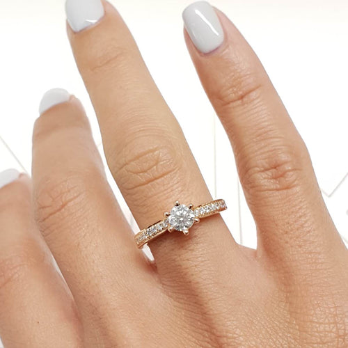 The Talia Engagement Ring  - 0.88 Carat Round Brilliant Cut - 14K Rose Gold Ring #J99213