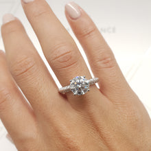 Load image into Gallery viewer, The Ariana Engagement Ring - 2.3 Carat E VS2 Knife Edge Ring -18K White Gold #J99215