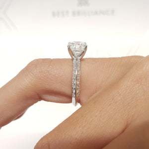 The Ariana Engagement Ring - 2.3 Carat E VS2 Knife Edge Ring -18K White Gold #J99215