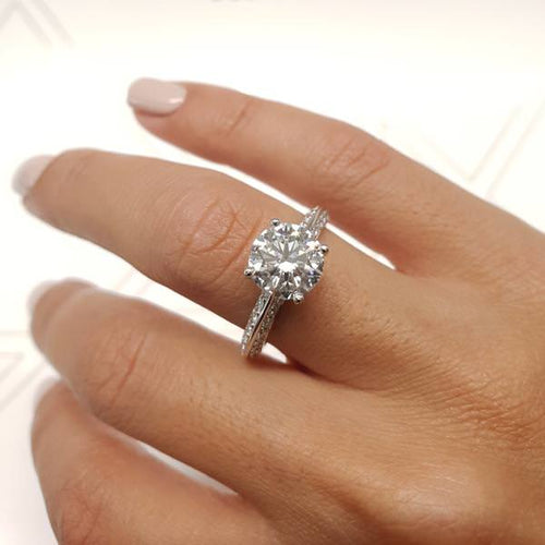 The Ariana Engagement Ring - 2.3 Carat D VS2 Knife Edge Ring -18K White Gold #J99215