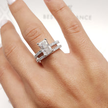 Load image into Gallery viewer, The Audrey Bridal Set - 2.5 CARAT RADIANT SHAPED F VS2 DIAMOND SET #J99218