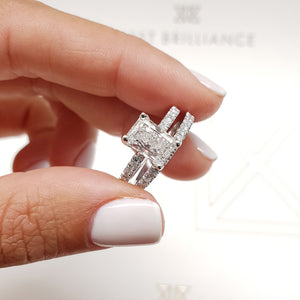 2 CARAT RADIANT SHAPED F COLOR VS2 CLARITY BEAUTIFUL DIAMOND BRIDAL SET #J99218