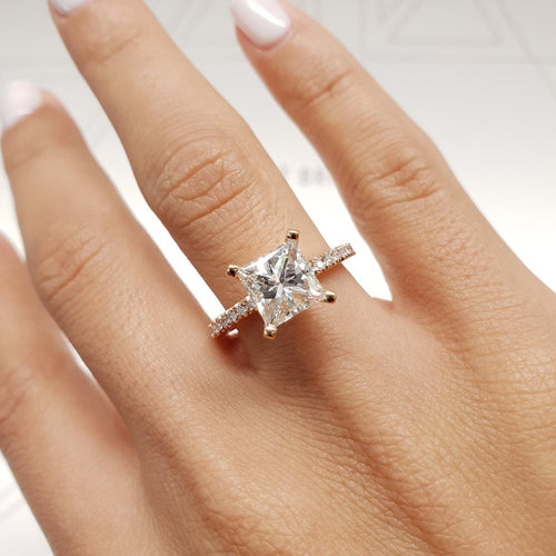 The Stephanie Engagement Ring - 2.8 CARAT PRINCESS SHAPED E VS1 DIAMOND RING #J99220