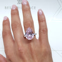 10 CARAT PINK PEAR SHAPE LAB CREATED DIAMOND - PAVE ENGAGEMENT RING