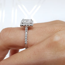Load image into Gallery viewer, The Patricia Engagement Ring - 2.5 CARAT PRINCESS CUT E VS2 HALO DIAMOND RING #J99277