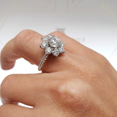 14K White Gold Flower Style Diamond Engagement Ring - 2.5 Carat GIA Certified Diamond #J99238