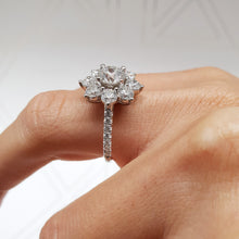 Load image into Gallery viewer, FLOWER STYLE MOISSANITE & DIAMONDS ENGAGEMENT RING - 2.5 CARAT ROUND - 14K WHITE GOLD #M10035