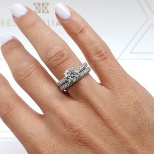 2.7 CARAT HIDDEN HALO ROUND MOISSANITE & DIAMONDS ENGAGEMENT RING & MATCHING WEDDING BAND #M10034