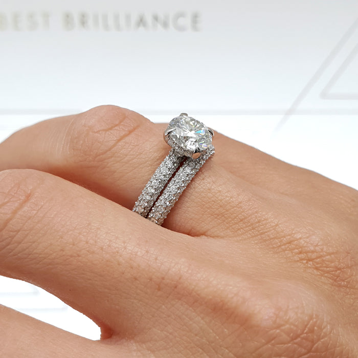 "2.7 CARAT ""HIDDEN HALO"" ROUND FOREVER ONE SET ENGAGEMENT RING & A MATCHING WEDDING BAND #M10034"