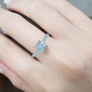 The Cassandra Engagement Ring - 2 CARAT CUSHION SHAPED HIDDEN HALO DIAMOND RING - 14K WHITE GOLD #J99256