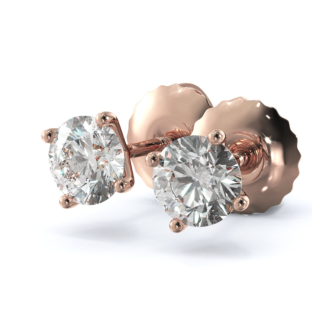 2 Carat G-H Color SI2 Clarity Diamond Stud Earrings - 18K Rose Gold #E1003