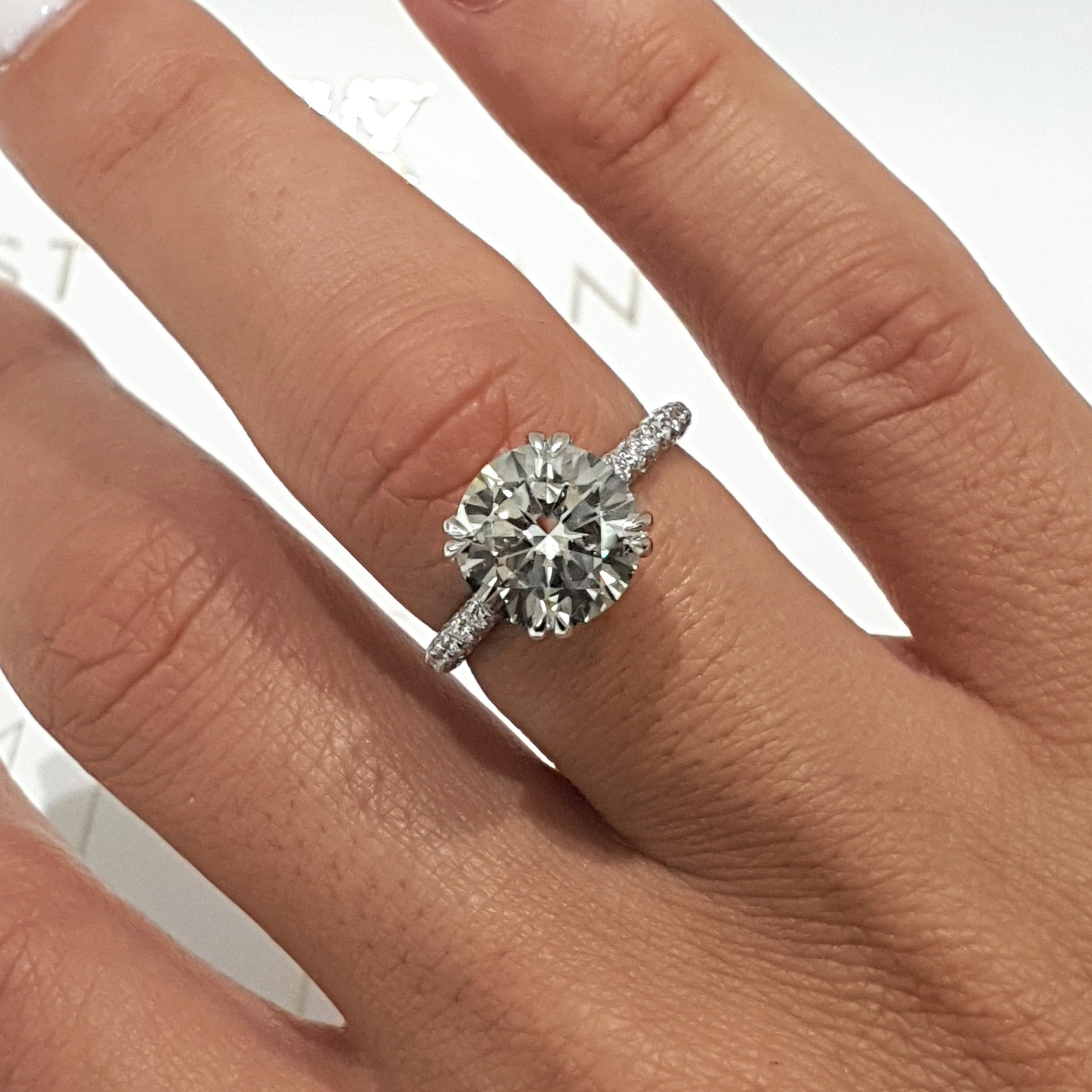 The Lorena Engagement Ring - 3.5 Carat F VS2 Round