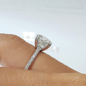 "The Lorena Engagement Ring - 3.5 Carat F VS2 Round ""Hidden Halo"" Design Diamond Engagement Ring - 14K White Gold #99157"