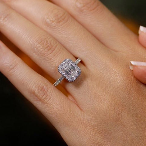 The Zoey Engagement Ring - 2 CARAT EMERALD CUT D VS1 HALO DIAMOND RING #J99271
