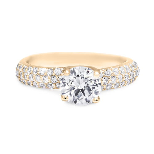 1 Carat Round Brilliant E VS2 - 18K Yellow Gold Diamond Engagement Ring #J18382 - Best Brilliance