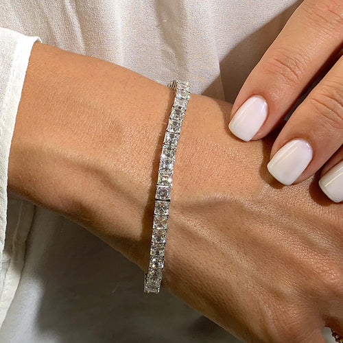 The Natasha Tennis Bracelet - 16 CARAT E-F VS ASSCHER DIAMONDS #T10051