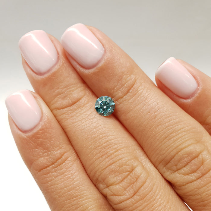 0.72 Carat Round Fancy Greenish Blue SI1 Certified Loose Diamond