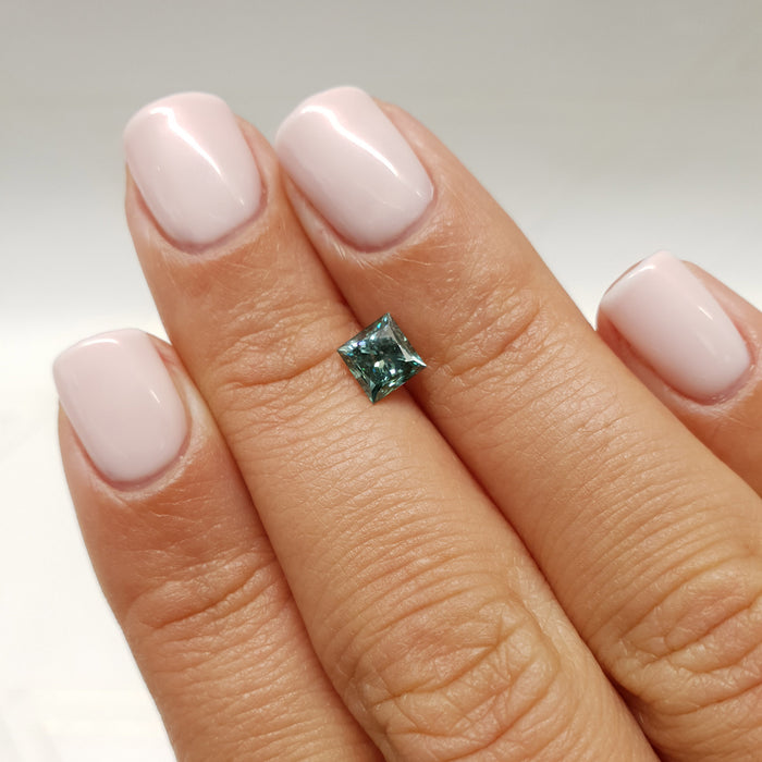 0.89 Carat Princess Fancy Greenish Blue SI1 Certified Loose Diamond
