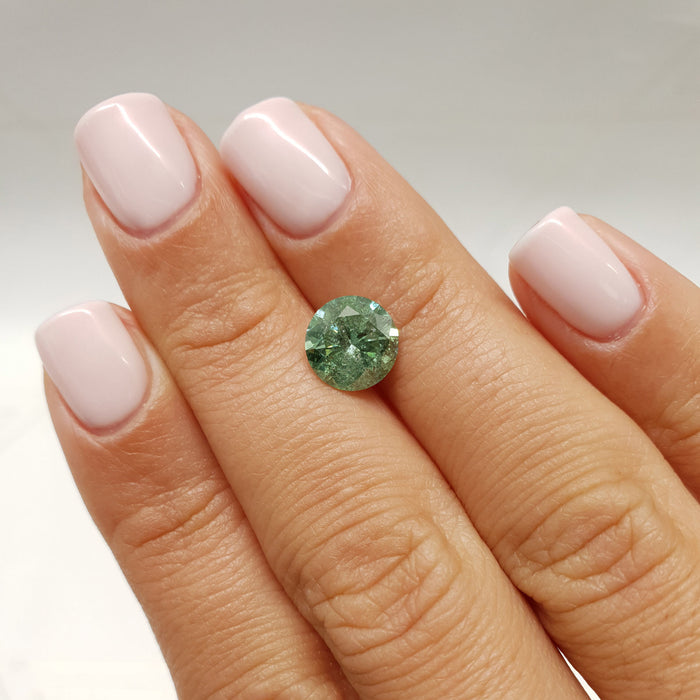 2.34 Carat Round Fancy Green I1 Certified Loose Diamond