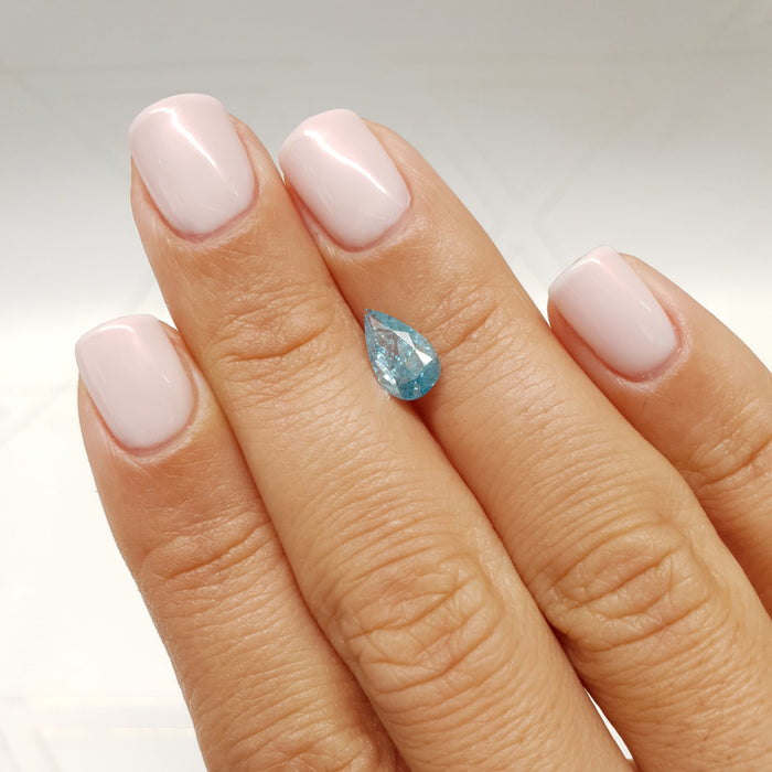 1.01 Carat Pear Fancy Sky Blue I1 Certified Loose Diamond