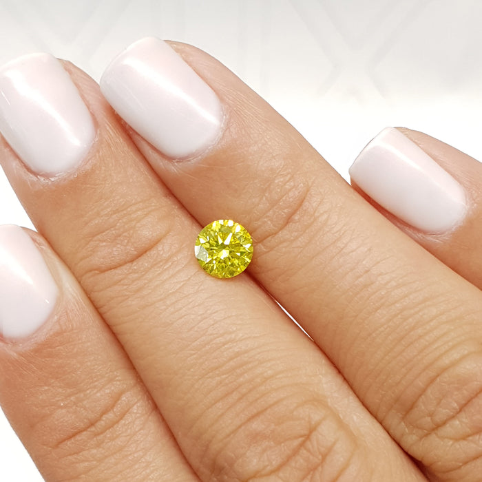 1.00 Carat Round Fancy Greenish Yellow SI1 Certified Loose Diamond