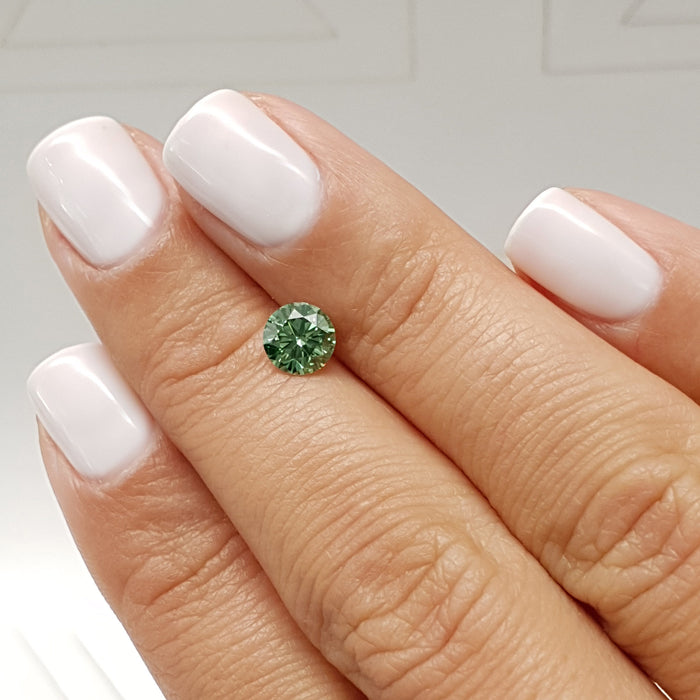 0.76 Carat Round Fancy Vivid Green VVS2 Certified Loose Diamond