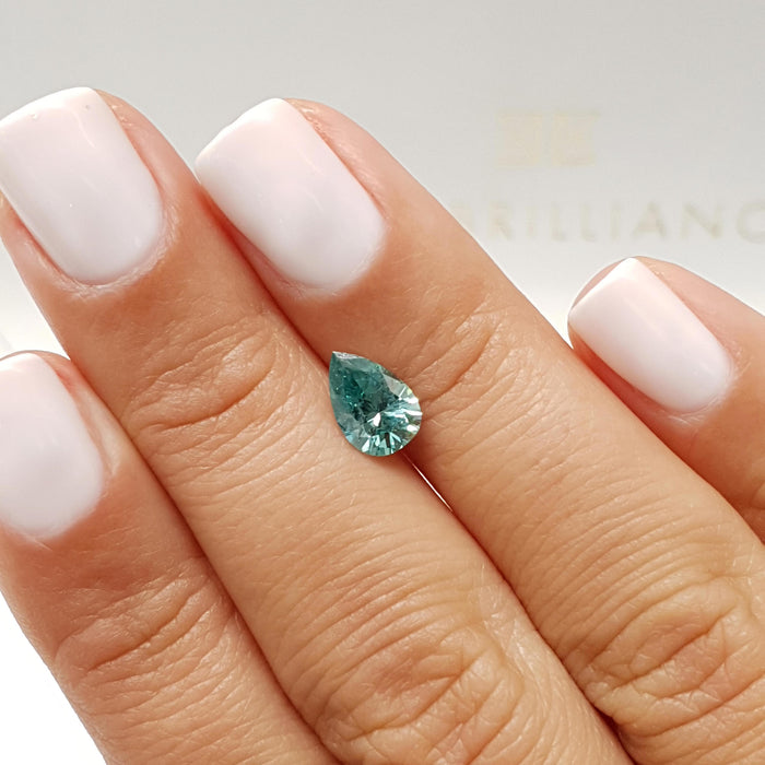 1.11 Carat Pear Fancy Greenish Blue SI1 Certified Loose Diamond