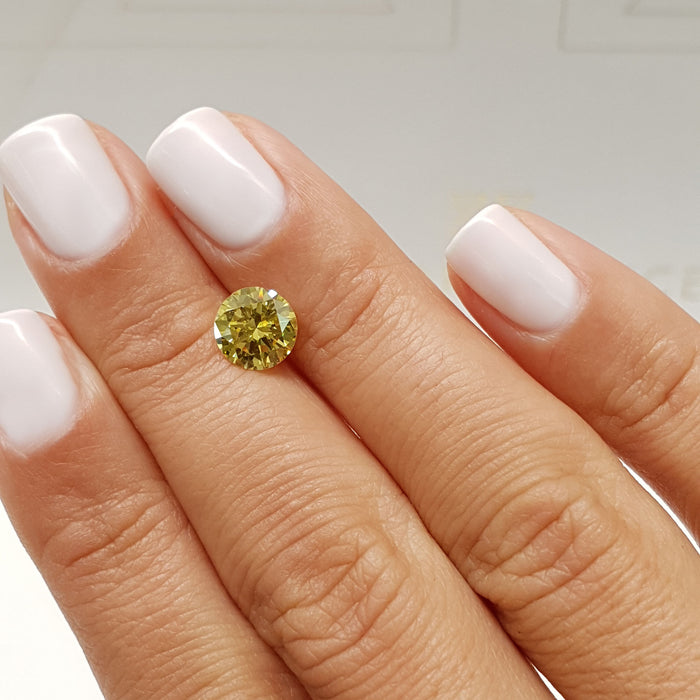 1.47 Carat Round Fancy Vivid Yellow VS2 Certified Loose Diamond