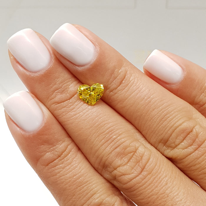 1.34 Carat Heart Fancy Vivid Yellow VS1 Certified Loose Diamond