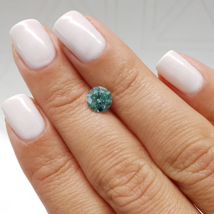 1.12 Carat Round Fancy Greenish Blue SI2 Certified Loose Diamond