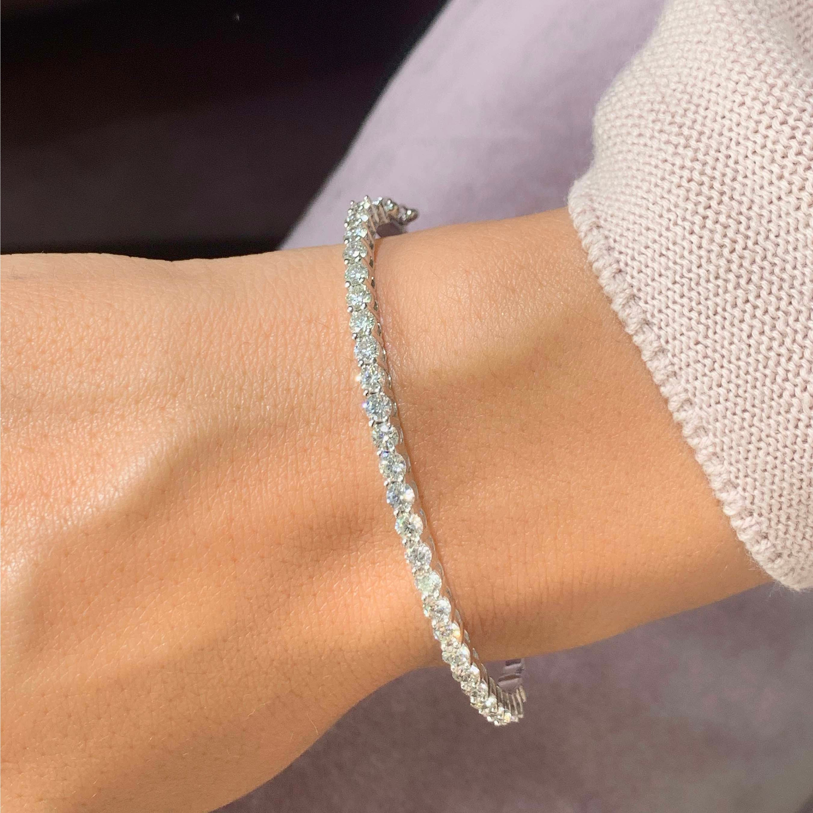 The Karla Bangle Bracelet - 2.5 Carat E-F VS Round Diamonds #T10055