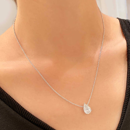 The Betty Necklace - 2 Carat Pear Diamond Pendant