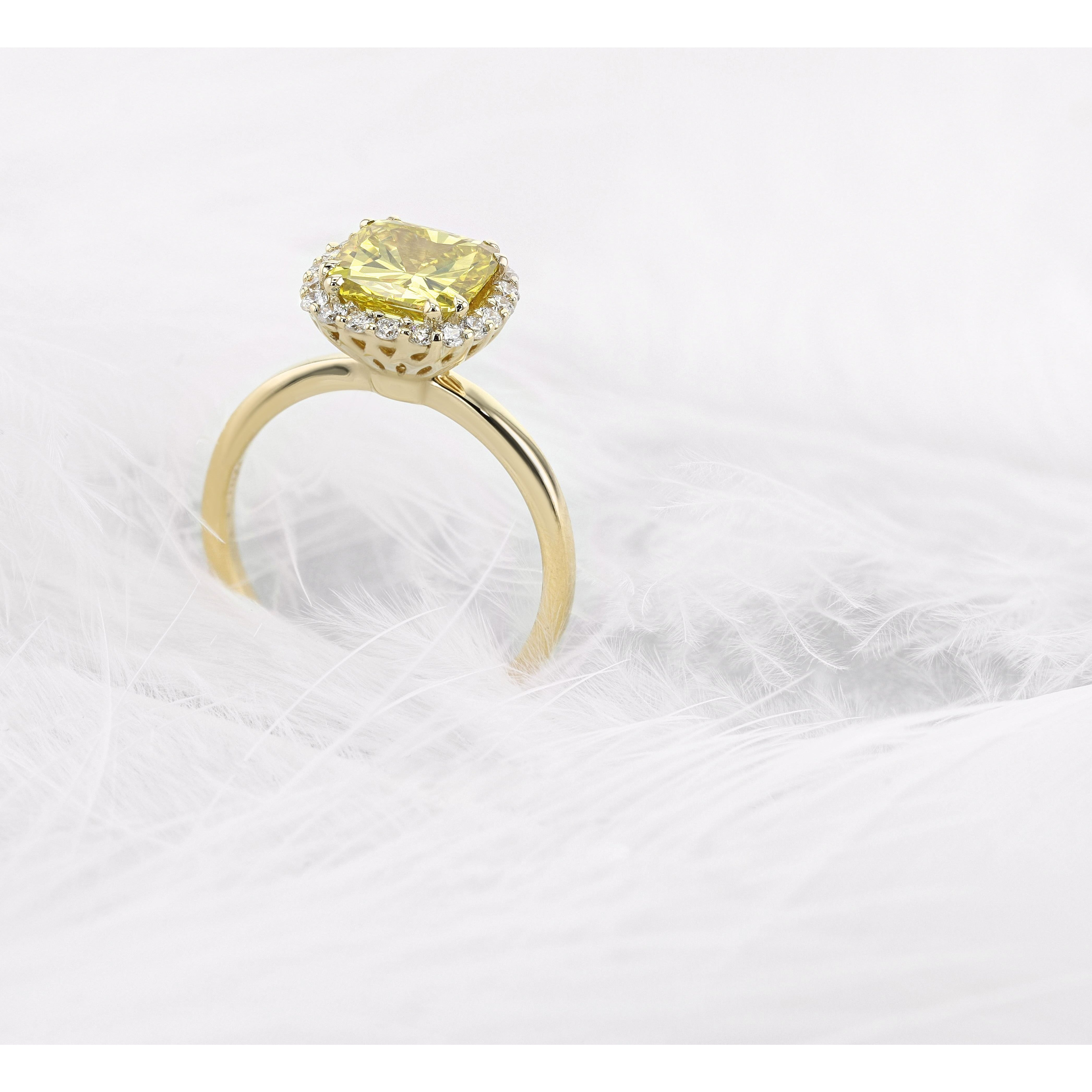 1.8 Carat Yellow Cushion Diamond Set on Designer Halo Yellow Gold Engagement Ring #J99982