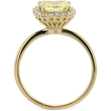 Load image into Gallery viewer, 1.8 Carat Yellow Cushion Diamond Set on Designer Halo Yellow Gold Engagement Ring #J99982