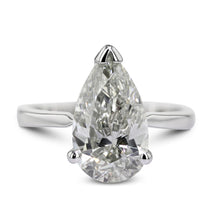 Load image into Gallery viewer, 3.51 Carat Pear D VS2 - Platinum Diamond Engagement Ring #J22444 - Best Brilliance