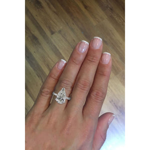 3.51 Carat Pear D VS2 - Platinum Diamond Engagement Ring #J22444 - Best Brilliance