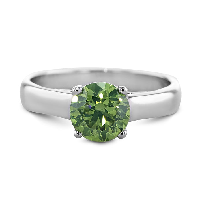 1 CARAT FANCY INTENSE GREEN DIAMOND SET IN 14K WHITE GOLD SOLITAIRE RING #J99973