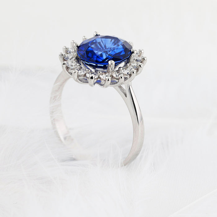 7 CARAT BLUE SAPPHIRE GEMSTONE FLORAL HALO STYLE RING - 14K WHITE GOLD #J99928