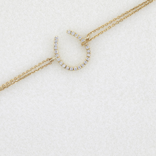Horseshoe Diamond Bracelets with 0.2 Carat Diamonds on 14K Yellow Gold #J99979