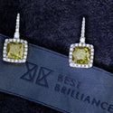 5.63 Carat Total Weight - 18K Yellow & White Gold Halo Earrings #J99166