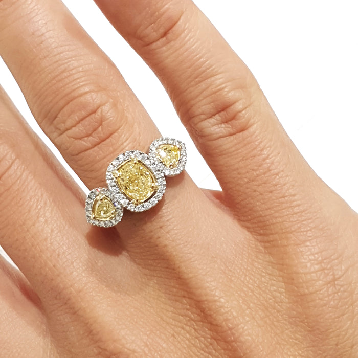 1.74 Carat Natural Fancy Yellow Oval VS2 - 18K White Gold 3 stones Diamond Engagement Ring #PT559