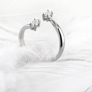 2 Stones Engagement Ring - Unique Style with 0.36 Carat - 14K White Gold #J99985
