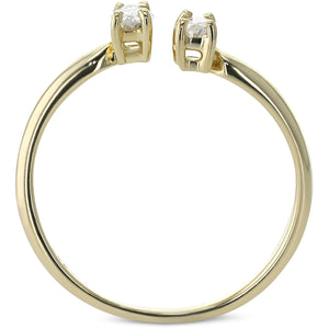 2 Stones Engagement Ring - Unique Style with 0.36 Carat - 14K Yellow Gold #J99986