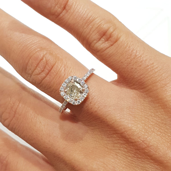 18K White Gold Diamond Engagement Ring Natural Fancy Yellow 1.32 Carat Cushion Halo Style #PT581
