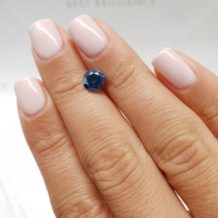 1.30 Carat Round Fancy Deep Blue I1 Certified Loose Diamond