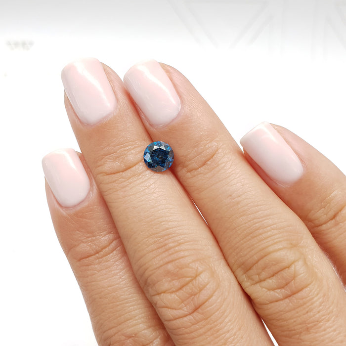 1.18 Carat Round Fancy Deep Blue I1 Certified Loose Diamond