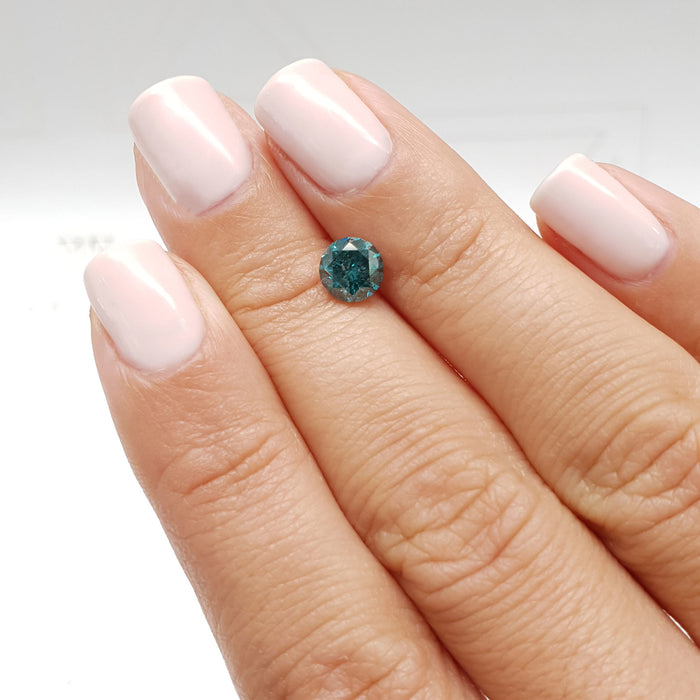 1.09 Carat Round Fancy Greenish Blue I1 Certified Loose Diamond